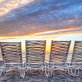 Sunrise At The Beach Panorama by Debra and Dave Vanderlaan