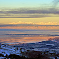Sunrise View Across Cook Inlet From Above Anchorage Alaska by Louise Heusinkveld