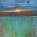 Sunset - Abstract Landscape Painting by Vesna Antic