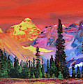 Sunset In The Rocky Mountains by David Lloyd Glover
