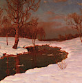 Sunset On A Snowy River Landscape by Ivan Fedorovich Choultse
