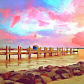 Sunset On Dewey Bay Painting by Trish Tritz
