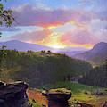 Sunset Over Big Rocks by David Lloyd Glover