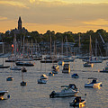 Sunset Over Marblehead Harbor And Abbot Hall Chandler Hovey Park by Toby McGuire