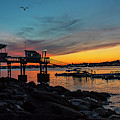 Sunset Over The Salem Yacht Club Salem Willows Ma by Toby McGuire