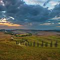 Sunset Over Toscany Fields by Jaroslaw Blaminsky