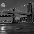Super Moon Over Manhattan And Brooklyn Bridges Nyc Bw by Susan Candelario