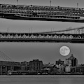 Super Moon Over Manhattan New York City Nyc Bridges Bw by Susan Candelario