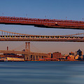 Super Moon Over Nyc Bridges Pano by Susan Candelario