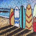 Surfboard Line Up by Karla Beatty