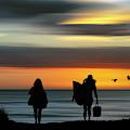 Surfer Girls Silhouette by Christopher Johnson