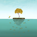 Surreal Illustration Of A Little Island by Valentina Photos