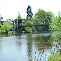 suspension bridge on river Teviot near Heiton by Victor Lord Denovan
