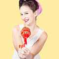 Sweet Lolly Shop Lady Offering Over Red Lollipop by Jorgo Photography - Wall Art Gallery