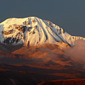 Taapaca Volcano At Golden Hour Chile by James Brunker