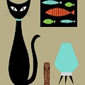 Tabletop Cat With Turquoise Lamp by Donna Mibus