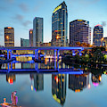 Tampa Skyline At Dawn Over The Riverwalk 1x1 by Gregory Ballos