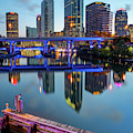 Tampa Skyline At Dawn Over The Riverwalk by Gregory Ballos