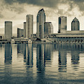Tampa Skyline Sepia Architecture On The Bay - 1x1 by Gregory Ballos
