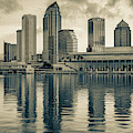 Tampa Skyline Sepia Architecture On The Bay by Gregory Ballos