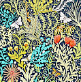 Tapestry Design, With Butterflies, Autumn Colored Foliage On A Dark Blue Background  by Lise Winne