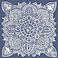 Tapestry Square 22 Charcoal Blue by Amy E Fraser