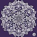 Tapestry Square 23 Purple Verbena by Amy E Fraser