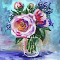 Tea Roses Bouquet Floral Impressionism  by Irina Sztukowski