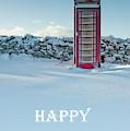 Telephone Box Snow - Happy Christmas I by Helen Northcott