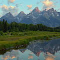 Tetons Reflection At Schwabachers Landing by Bruce Gourley