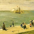 The Beach At Petit-dalles Also Known As On The Beach - 1873 - Virginia Museum Of Fine Arts Usa by Berthe Morisot