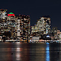 The Boston Skyline Lit Up For Christmas Boston Ma East Boston Panorama by Toby McGuire