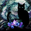 The Cat With Aquamarine Eyes And Celestial Crystals by Little Bunny Sunshine