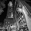 The Custom House Overlooking The Black Rose Boston Ma Autumn Black And White by Toby McGuire