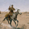 The Flight, A Sage-brush Pioneer, 1895 by Frederic Remington