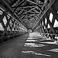 The Henniker Covered Bridge Henniker Nh New Hampshire In Autumn Inside Black And White by Toby McGuire