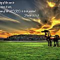 The Iron Horse Sunset Farming Landscape Art by Reid Callaway