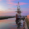 The Kalmar Nyckel Docked In Salem Harbor Sunrise Red Sky by Toby McGuire