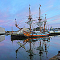 The Kalmar Nyckel Docked In Salem Harbor Sunrise by Toby McGuire