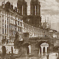 The Little Bridge Paris, France By Charles Meryon 1821-1868 by California Views Archives Mr Pat Hathaway Archives