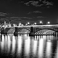 The Longfellow Bridge Lit Up At Night Boston Ma Black And White by Toby McGuire