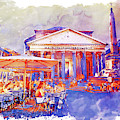 The Pantheon Rome Watercolor Streetscape by Marian Voicu
