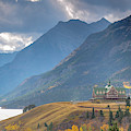 The Prince Of Wales Hotel Overlooking Upper Waterton Lakes by Tim Kathka