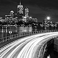 The Pru Lit Up For The Boston Bruins Boston Ma Charles River Black And White by Toby McGuire