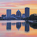 The Rochester Skyline At Sunrise Reflecting On The Genessee River by Toby McGuire