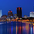 The Rochester Skyline Reflecting The The Genesee River Rochester Ny Deep Blue Sky by Toby McGuire