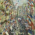 The Rue Montorgueil In Paris  Celebration  by Claude Monet