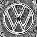 The Rusty Vw Emblem Black And White by JC Findley