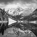 The Smoky Maroon Bells - Aspen Colorado Monochrome by Gregory Ballos