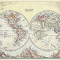 The World Hemispheres Antique Map by Nicholas Free